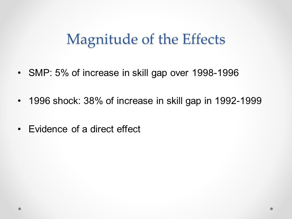 Magnitude of the Effects SMP: 5% of increase in skill gap over 1998-1996 1996 shock: 38% of increase in skill gap in 1992-1999 Evidence of a direct ef