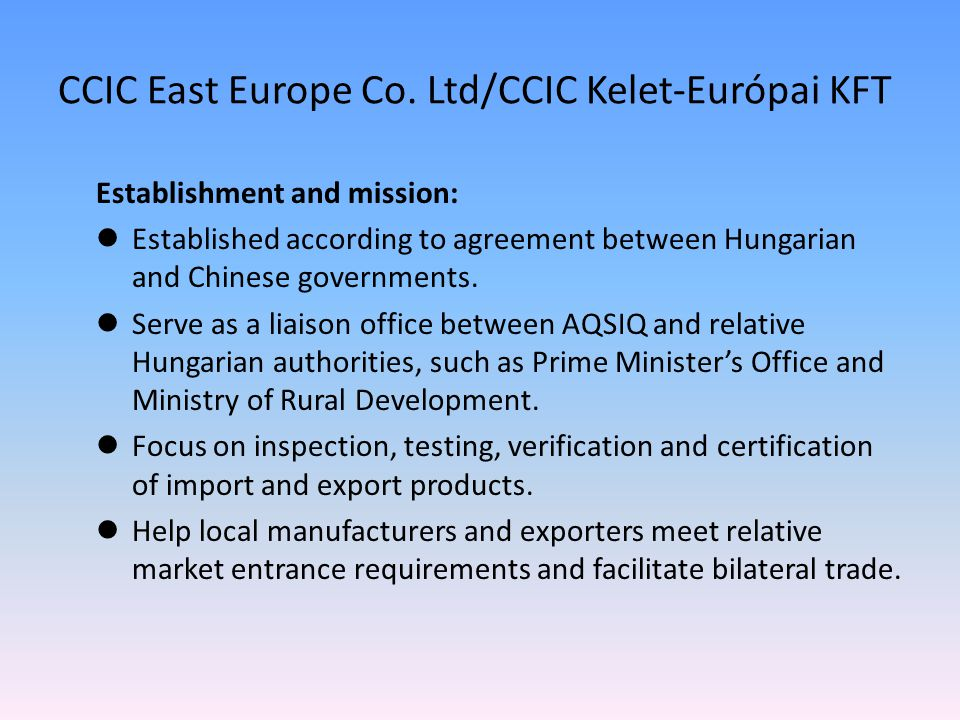 CCIC East Europe Co.