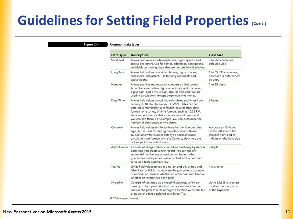 XP Guidelines for Setting Field Properties (Cont.) New Perspectives on Microsoft Access 201311