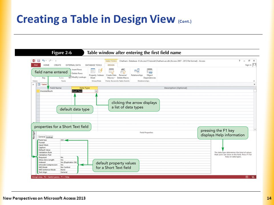 XP Creating a Table in Design View (Cont.) New Perspectives on Microsoft Access 201314
