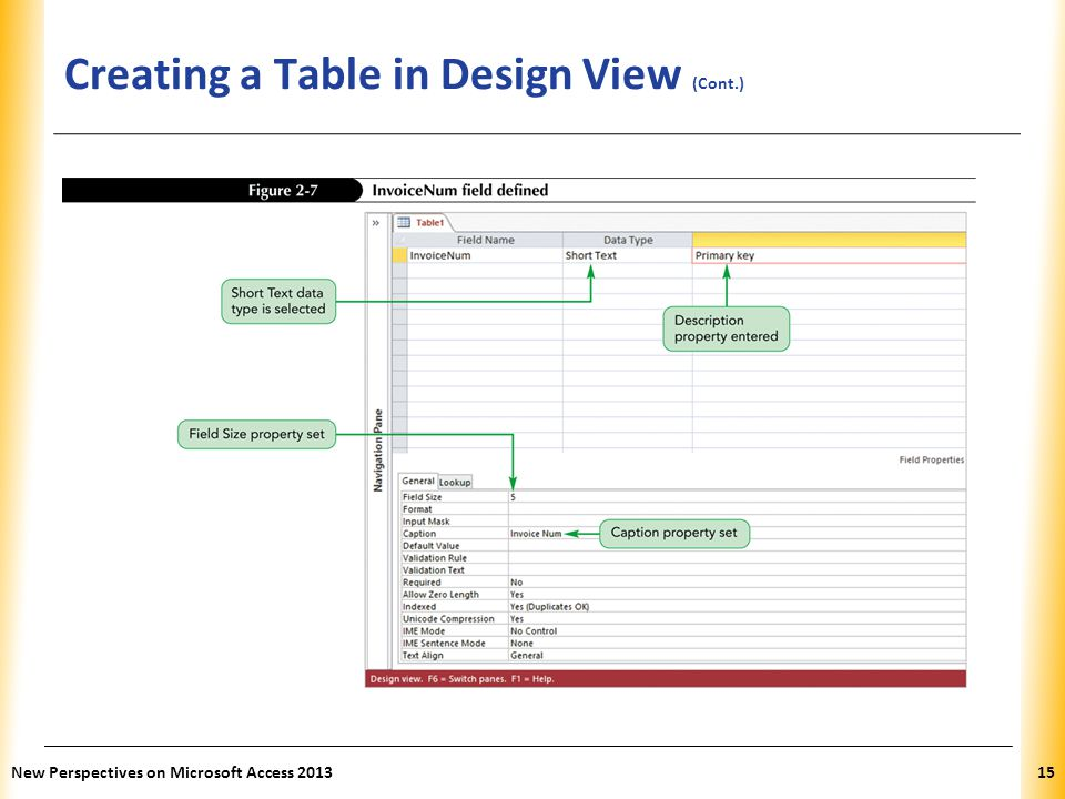 XP Creating a Table in Design View (Cont.) New Perspectives on Microsoft Access 201315