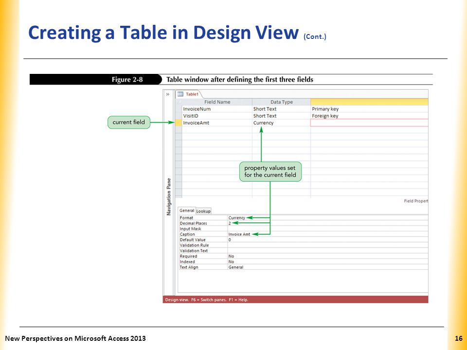 XP Creating a Table in Design View (Cont.) New Perspectives on Microsoft Access 201316