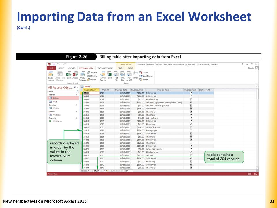 XP Importing Data from an Excel Worksheet (Cont.) New Perspectives on Microsoft Access 201331