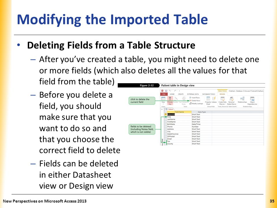 XP Modifying the Imported Table Deleting Fields from a Table Structure – After you've created a table, you might need to delete one or more fields (which also deletes all the values for that field from the table) – Before you delete a field, you should make sure that you want to do so and that you choose the correct field to delete – Fields can be deleted in either Datasheet view or Design view New Perspectives on Microsoft Access 201335