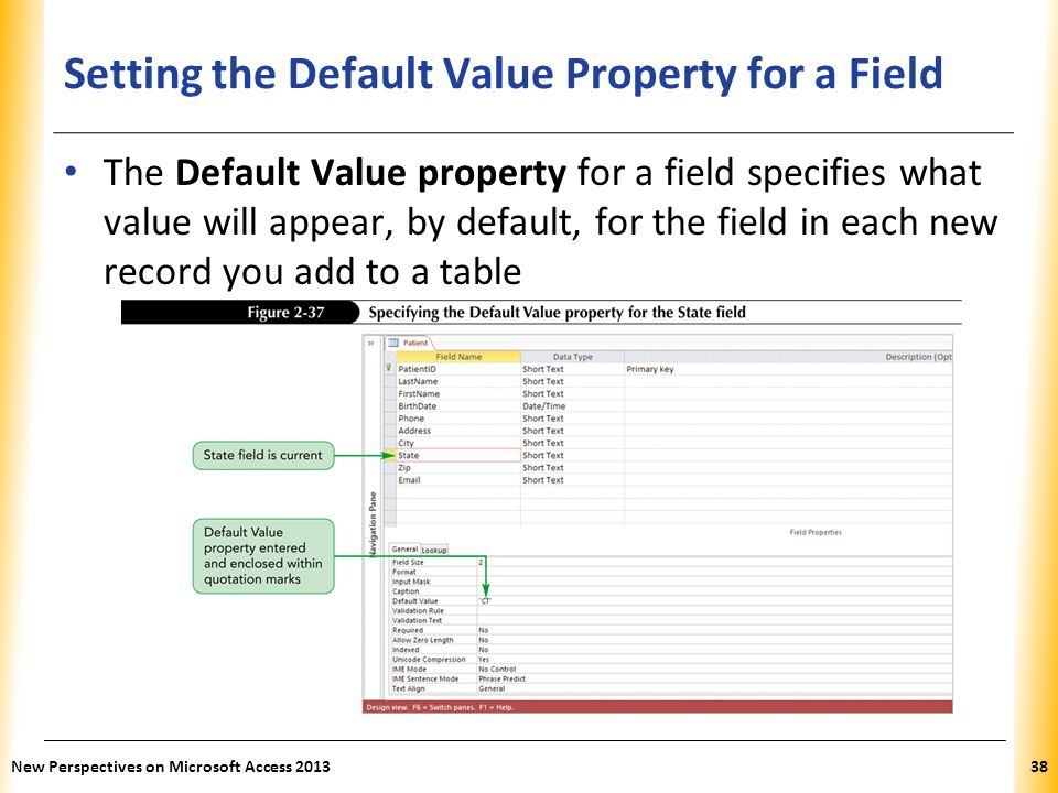 XP Setting the Default Value Property for a Field The Default Value property for a field specifies what value will appear, by default, for the field in each new record you add to a table New Perspectives on Microsoft Access 201338