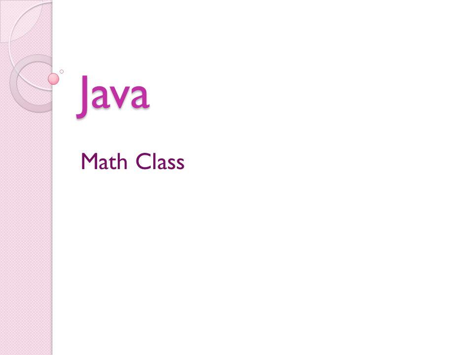 Java Math Class