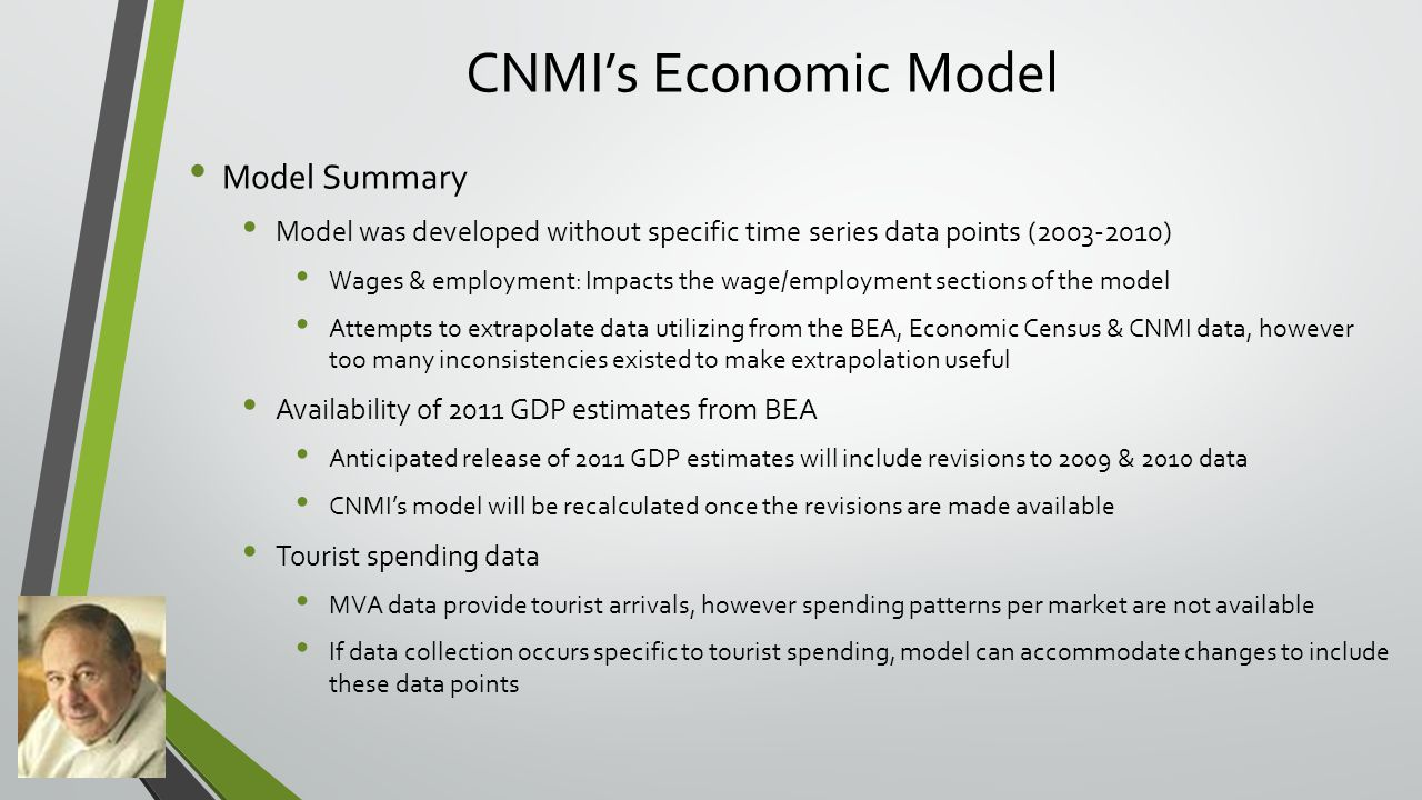 CNMI's Economic Model Model Summary Model was developed without specific time series data points (2003-2010) Wages & employment: Impacts the wage/employment sections of the model Attempts to extrapolate data utilizing from the BEA, Economic Census & CNMI data, however too many inconsistencies existed to make extrapolation useful Availability of 2011 GDP estimates from BEA Anticipated release of 2011 GDP estimates will include revisions to 2009 & 2010 data CNMI's model will be recalculated once the revisions are made available Tourist spending data MVA data provide tourist arrivals, however spending patterns per market are not available If data collection occurs specific to tourist spending, model can accommodate changes to include these data points