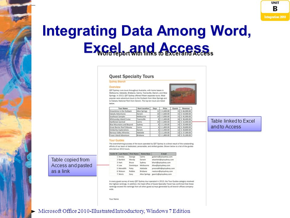 Microsoft Office 2010-Illustrated Introductory, Windows 7 Edition Linking an Access Table to Word Paste commands Unit B integration tasks