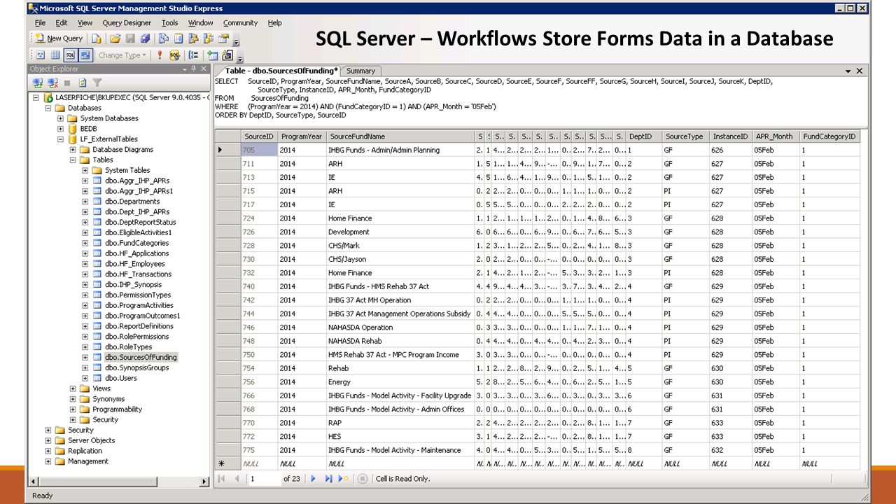 SQL Server – Workflows Store Forms Data in a Database