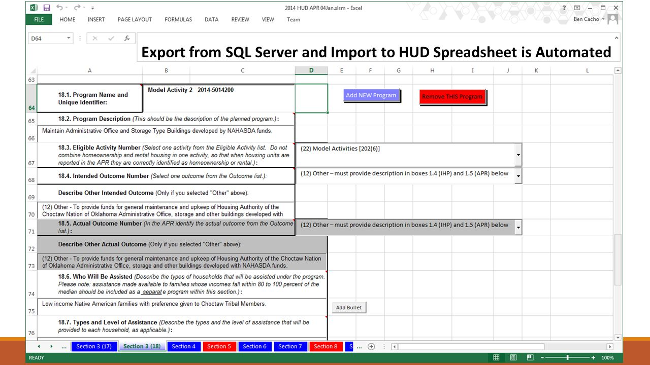Export from SQL Server and Import to HUD Spreadsheet is Automated