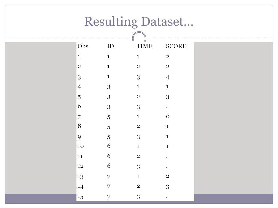 Resulting Dataset… ObsIDTIMESCORE 1112 2122 3134 4311 5323 633. 7510 8521 9531 10611 1162. 1263. 13712 14723 1573.