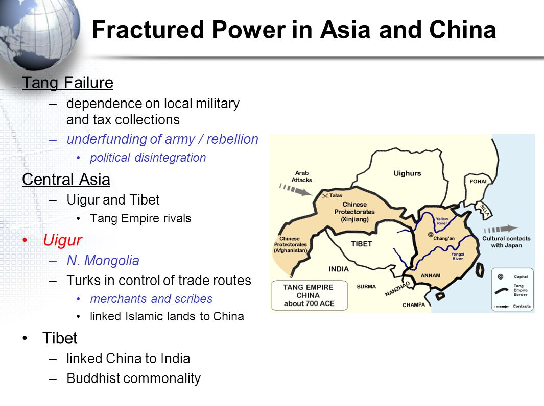 Fractured Power in Asia and China Tang Failure –dependence on local military and tax collections –underfunding of army / rebellion political disintegration Central Asia –Uigur and Tibet Tang Empire rivals Uigur –N.