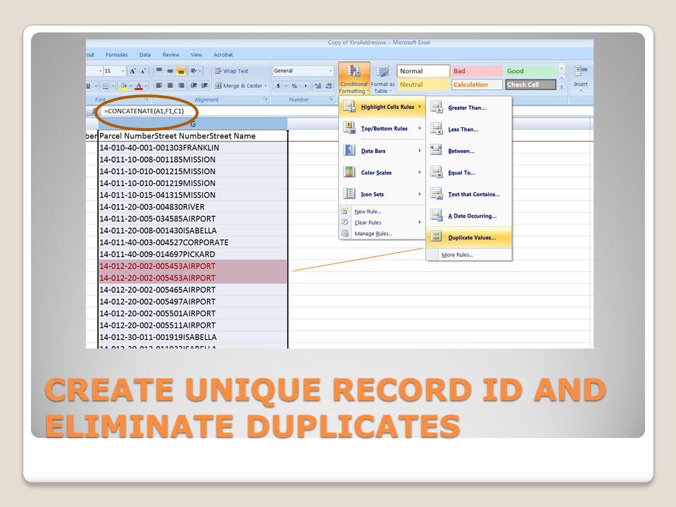 CREATE UNIQUE RECORD ID AND ELIMINATE DUPLICATES