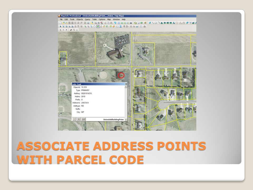 ASSOCIATE ADDRESS POINTS WITH PARCEL CODE