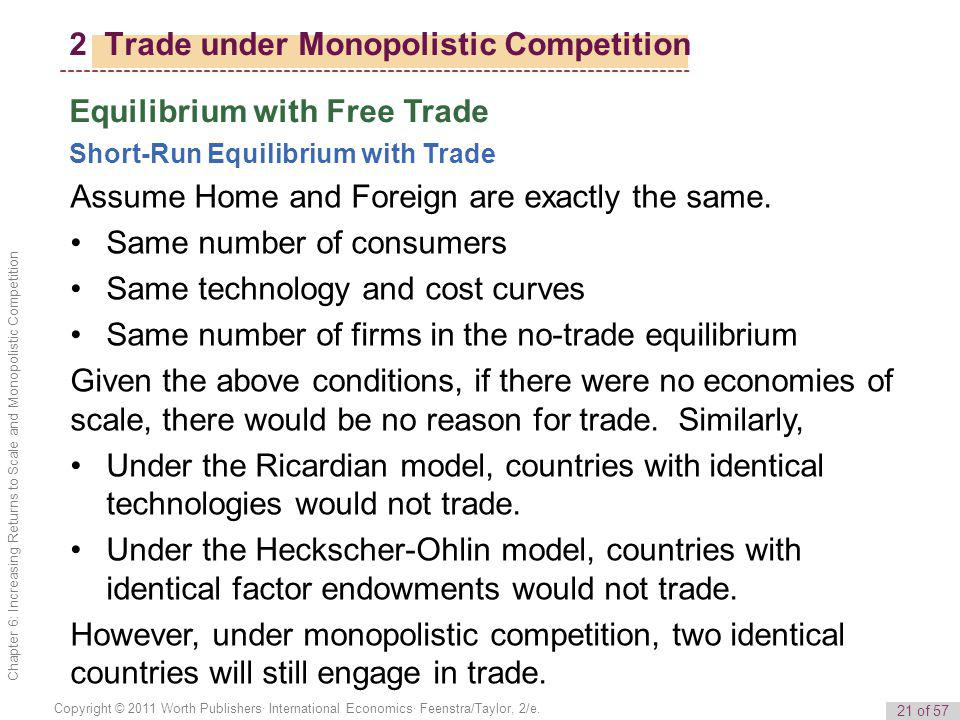 21 of 57 Copyright © 2011 Worth Publishers· International Economics· Feenstra/Taylor, 2/e. Chapter 6: Increasing Returns to Scale and Monopolistic Com