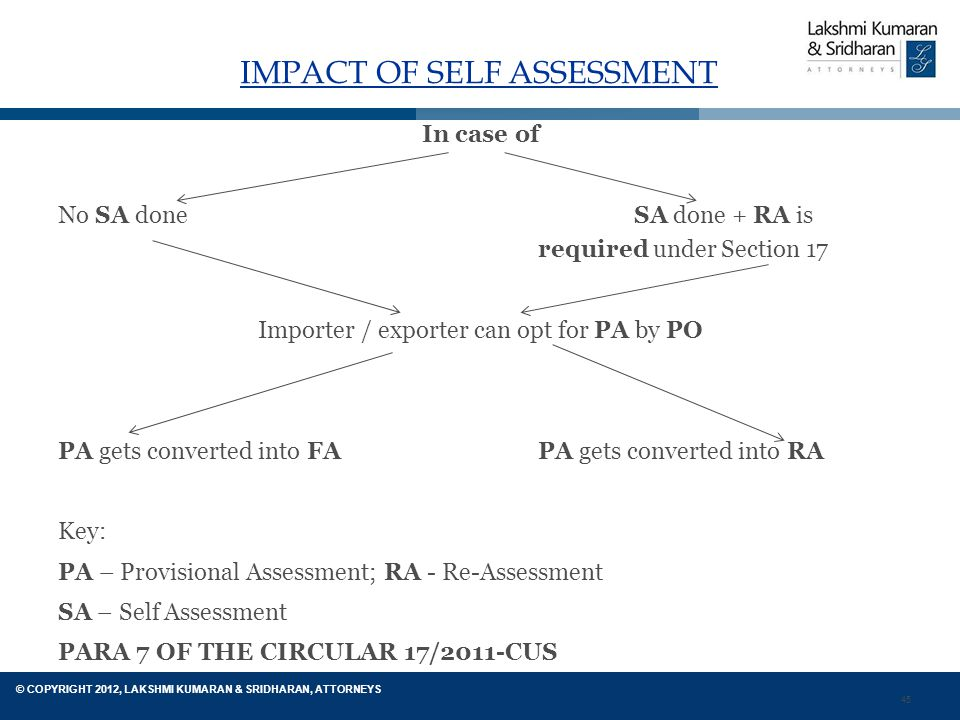45 © COPYRIGHT 2012, LAKSHMI KUMARAN & SRIDHARAN, ATTORNEYS IMPACT OF SELF ASSESSMENT In case of No SA done SA done + RA is required under Section 17 Importer / exporter can opt for PA by PO PA gets converted into FA PA gets converted into RA Key: PA – Provisional Assessment; RA - Re-Assessment SA – Self Assessment PARA 7 OF THE CIRCULAR 17/2011-CUS