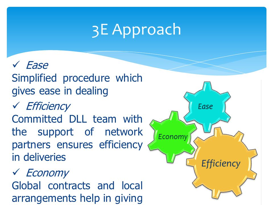 3E Approach Ease Simplified procedure which gives ease in dealing Efficiency Committed DLL team with the support of network partners ensures efficiency in deliveries Economy Global contracts and local arrangements help in giving economical pricing to clients and agents