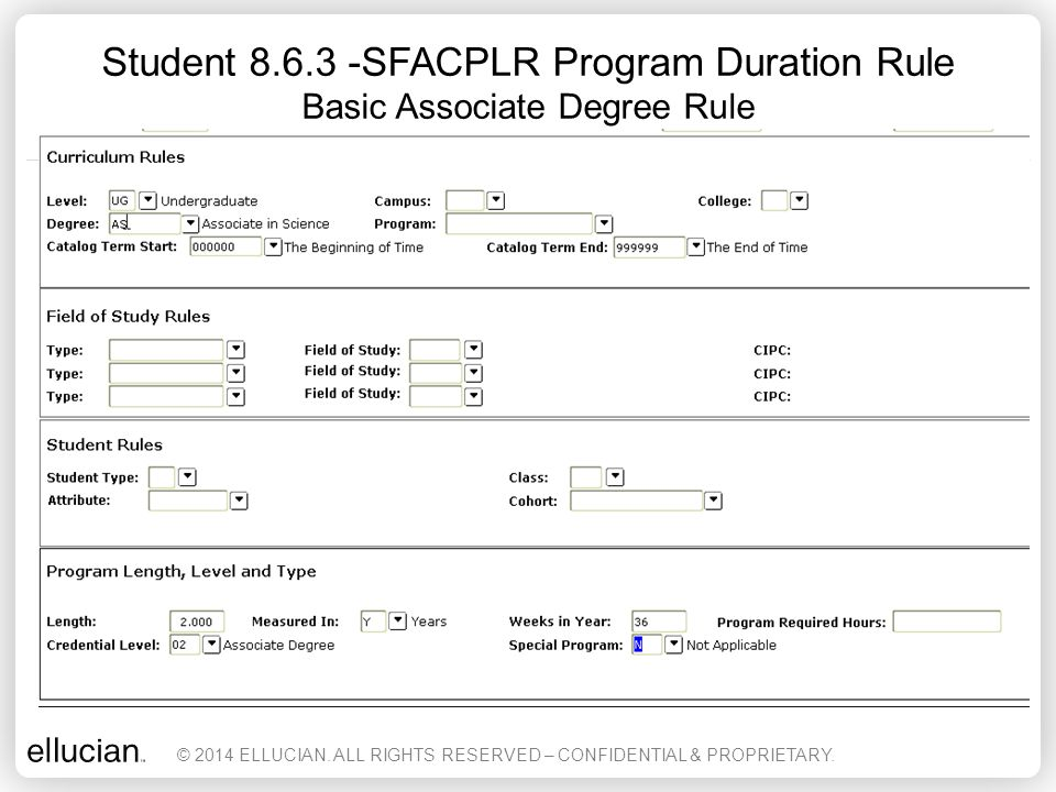 Student 8.6.3 -SFACPLR Program Duration Rule Basic Associate Degree Rule © 2014 ELLUCIAN. ALL RIGHTS RESERVED – CONFIDENTIAL & PROPRIETARY.