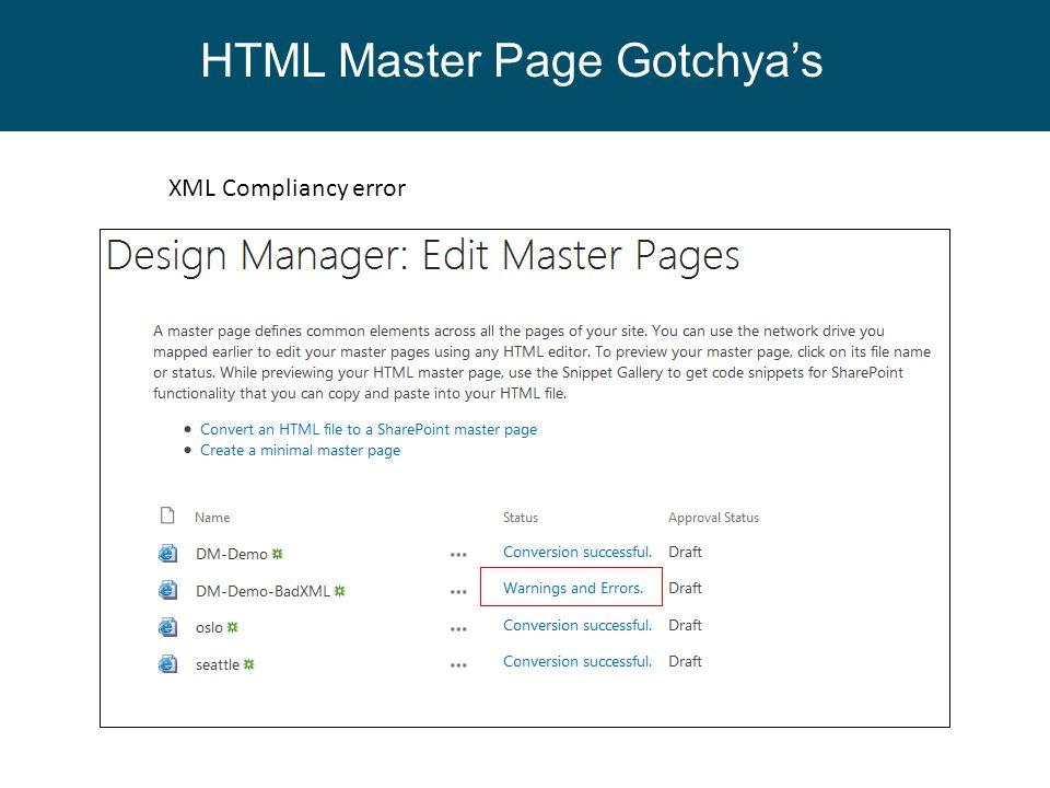 XML Compliancy error HTML Master Page Gotchya's