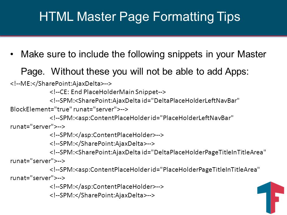 Make sure to include the following snippets in your Master Page. Without these you will not be able to add Apps: --> --> HTML Master Page Formatting T