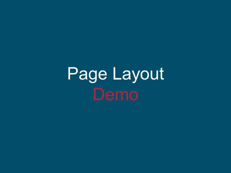 Page Layout Demo