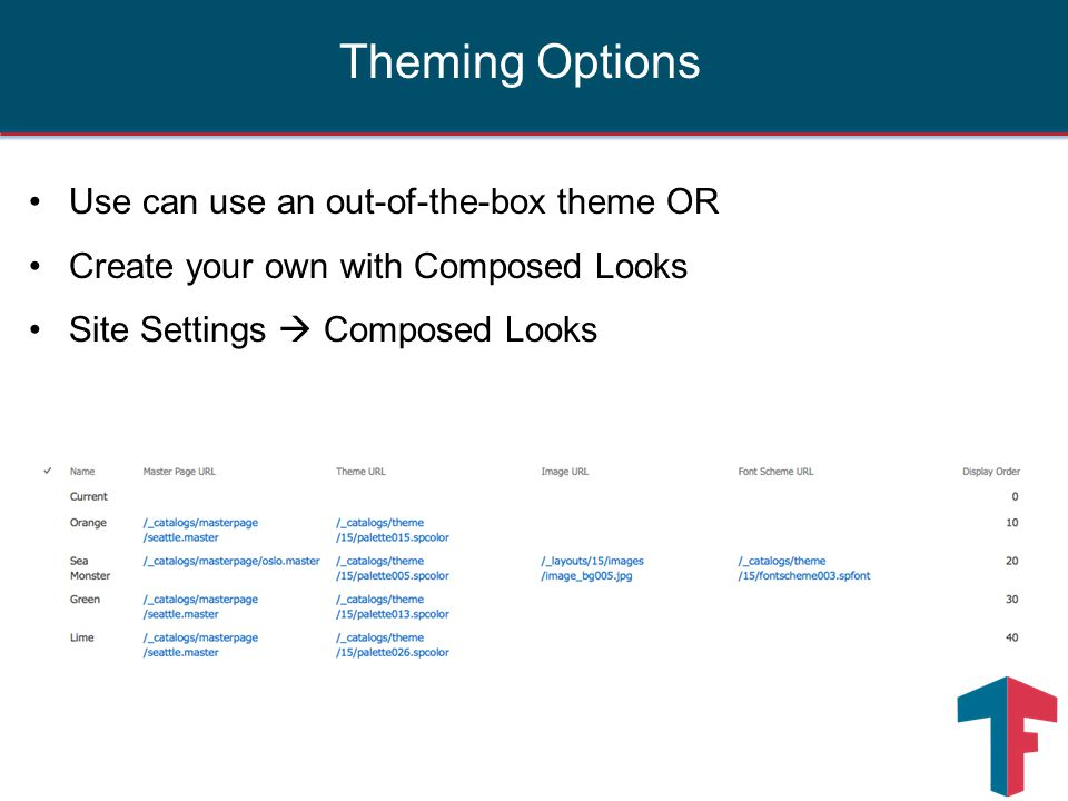 Use can use an out-of-the-box theme OR Create your own with Composed Looks Site Settings  Composed Looks Theming Options