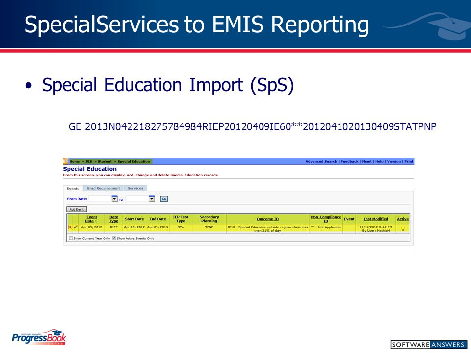 SpecialServices to EMIS Reporting Special Education Import (SpS) GE 2013N042218275784984RIEP20120409IE60**2012041020130409STATPNP