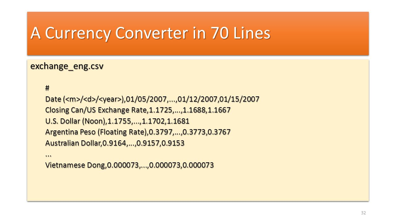 A Currency Converter in 70 Lines exchange_eng.csv# Date ( / / ),01/05/2007,...,01/12/2007,01/15/2007 Closing Can/US Exchange Rate,1.1725,...,1.1688,1.