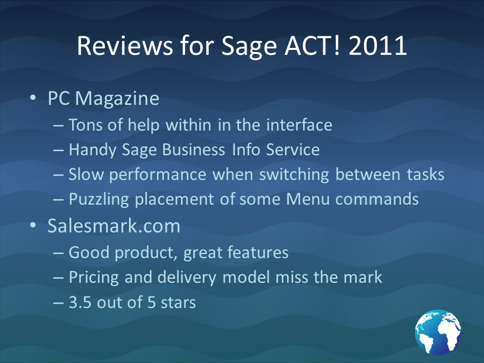 Reviews for Sage ACT.