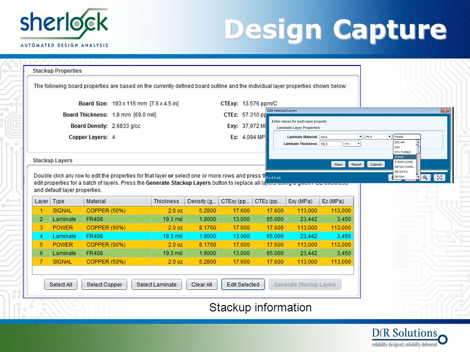 Design Capture Stackup information