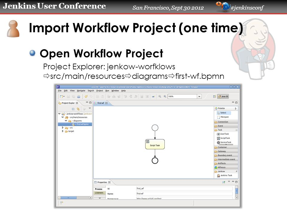 Jenkins User Conference San Francisco, Sept 30 2012 #jenkinsconf Import Workflow Project (one time) Open Workflow Project Project Explorer: jenkow-worfklows  src/main/resources  diagrams  first-wf.bpmn