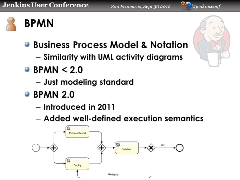 Jenkins User Conference San Francisco, Sept 30 2012 #jenkinsconf BPMN Business Process Model & Notation – Similarity with UML activity diagrams BPMN <