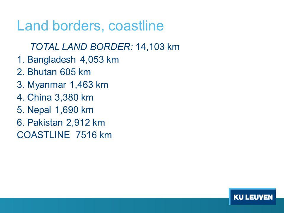 Land borders, coastline TOTAL LAND BORDER: 14,103 km 1.