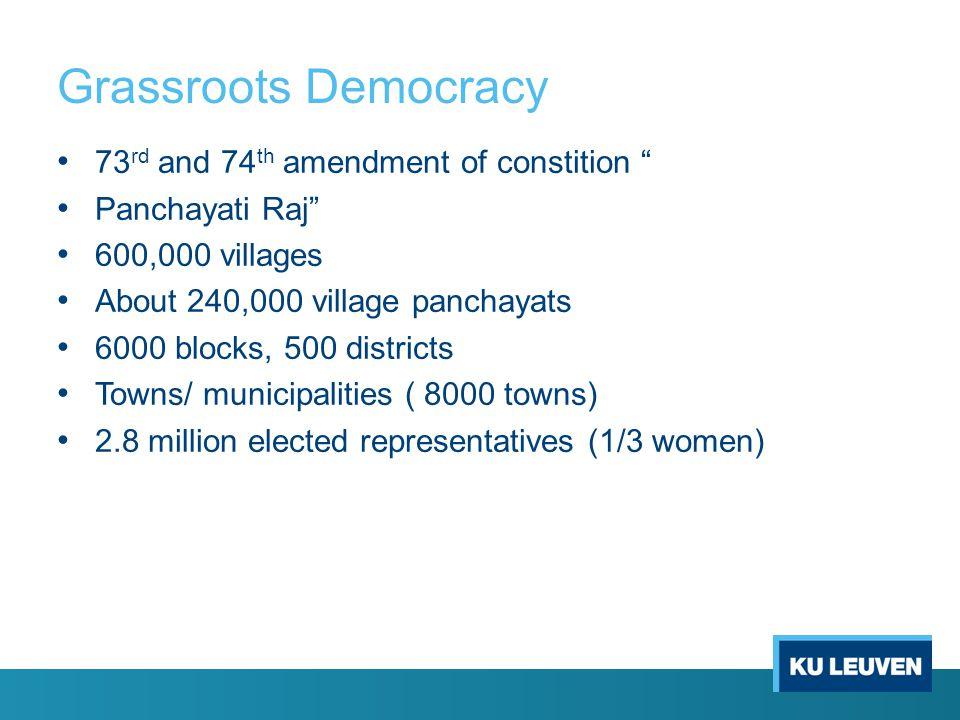 Grassroots Democracy 73 rd and 74 th amendment of constition Panchayati Raj 600,000 villages About 240,000 village panchayats 6000 blocks, 500 districts Towns/ municipalities ( 8000 towns) 2.8 million elected representatives (1/3 women)