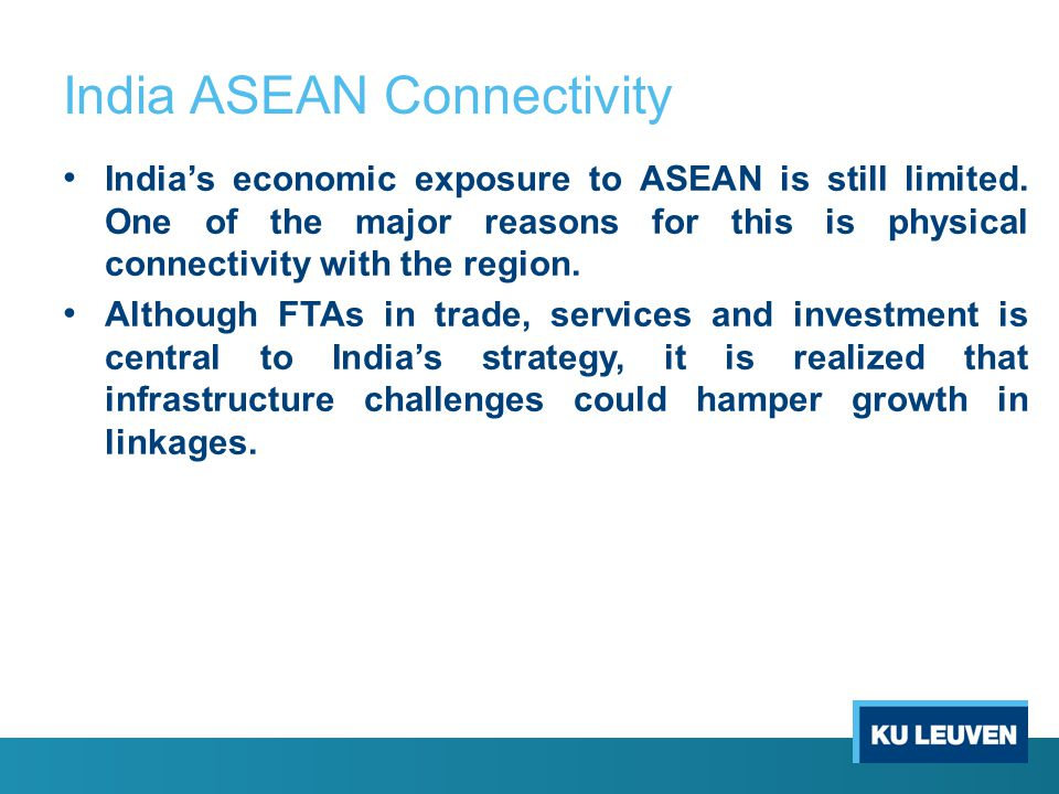 India ASEAN Connectivity India's economic exposure to ASEAN is still limited.