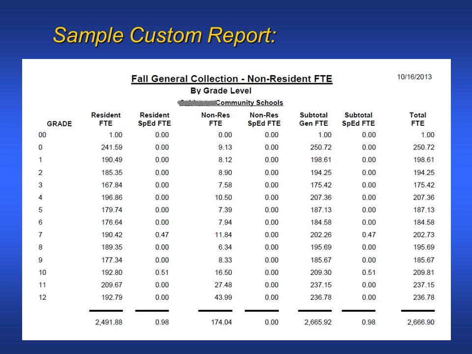 Sample Custom Report: