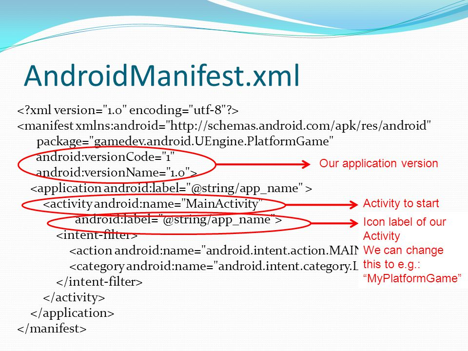 AndroidManifest.xml <manifest xmlns:android= http://schemas.android.com/apk/res/android package= gamedev.android.UEngine.PlatformGame android:versionCode= 1 android:versionName= 1.0 > <activity android:name= MainActivity android:label= @string/app_name > Our application version Activity to start Icon label of our Activity We can change this to e.g.: MyPlatformGame