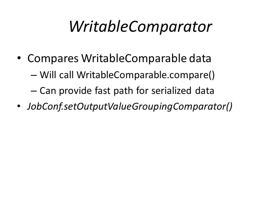 WritableComparator Compares WritableComparable data – Will call WritableComparable.compare() – Can provide fast path for serialized data JobConf.setOu