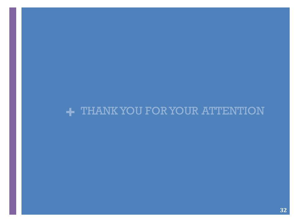 + THANK YOU FOR YOUR ATTENTION 32