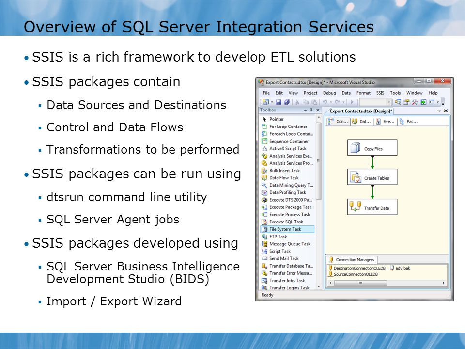 Overview of SQL Server Integration Services SSIS is a rich framework to develop ETL solutions SSIS packages contain  Data Sources and Destinations  Control and Data Flows  Transformations to be performed SSIS packages can be run using  dtsrun command line utility  SQL Server Agent jobs SSIS packages developed using  SQL Server Business Intelligence Development Studio (BIDS)  Import / Export Wizard
