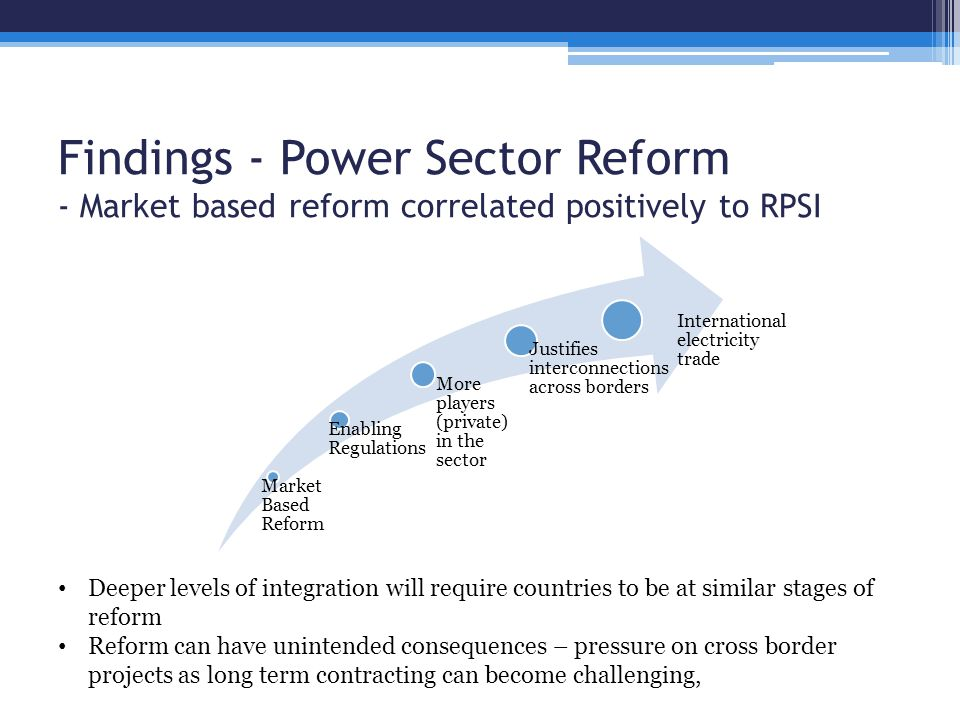 Findings - Power Sector Reform - Market based reform correlated positively to RPSI Market Based Reform Enabling Regulations More players (private) in the sector Justifies interconnections across borders International electricity trade Deeper levels of integration will require countries to be at similar stages of reform Reform can have unintended consequences – pressure on cross border projects as long term contracting can become challenging,