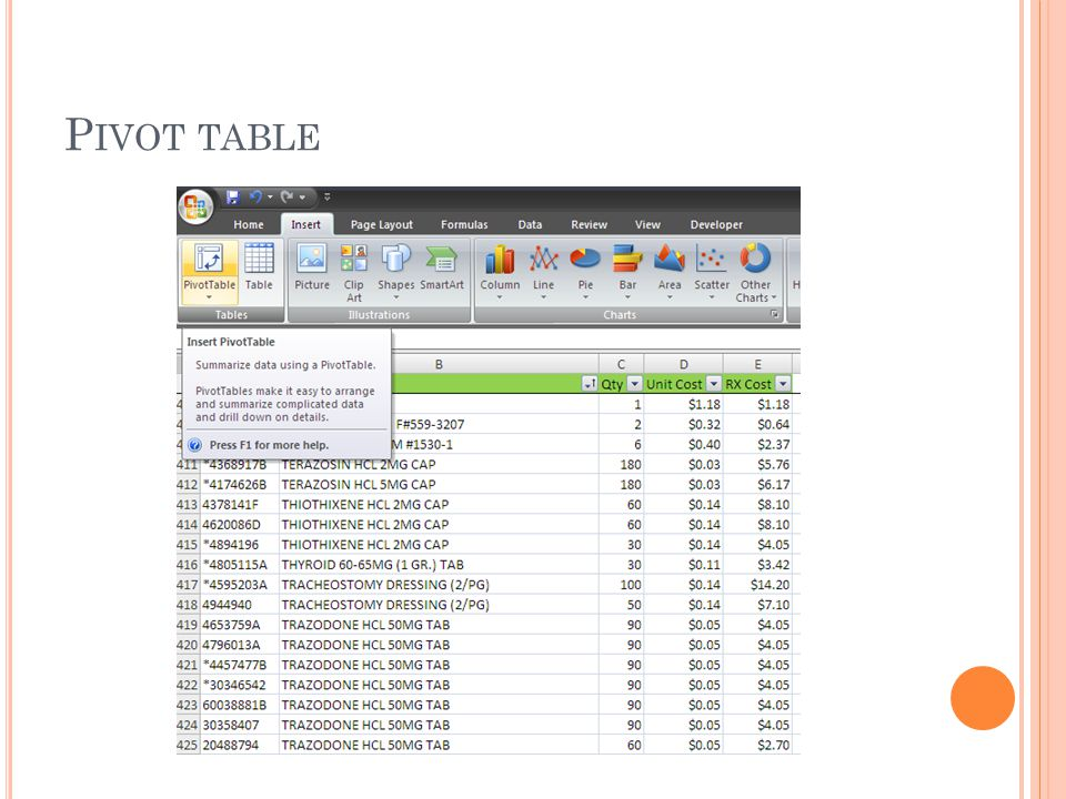 P IVOT TABLE