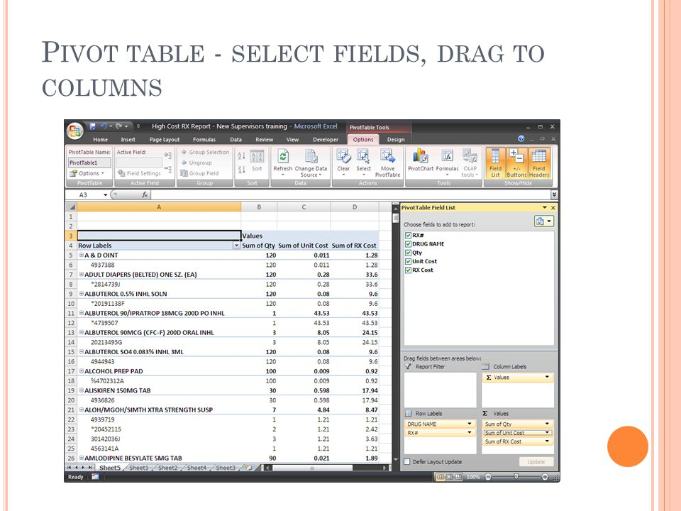 P IVOT TABLE - SELECT FIELDS, DRAG TO COLUMNS