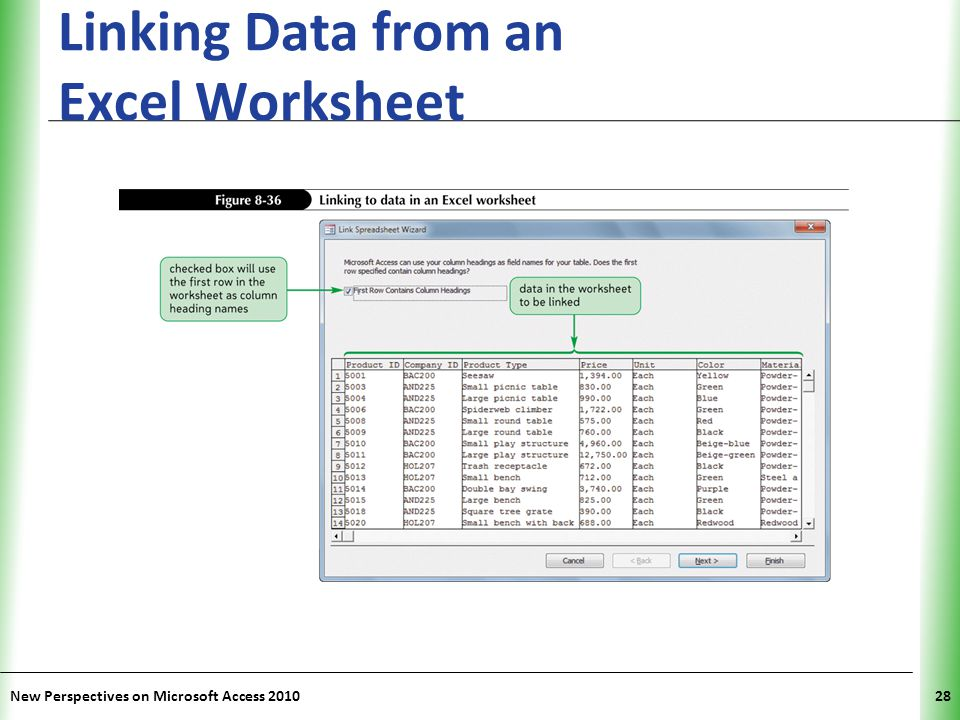 XP Linking Data from an Excel Worksheet New Perspectives on Microsoft Access 201028