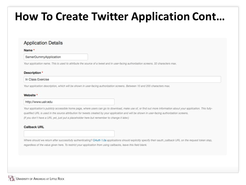 How To Create Twitter Application Cont…