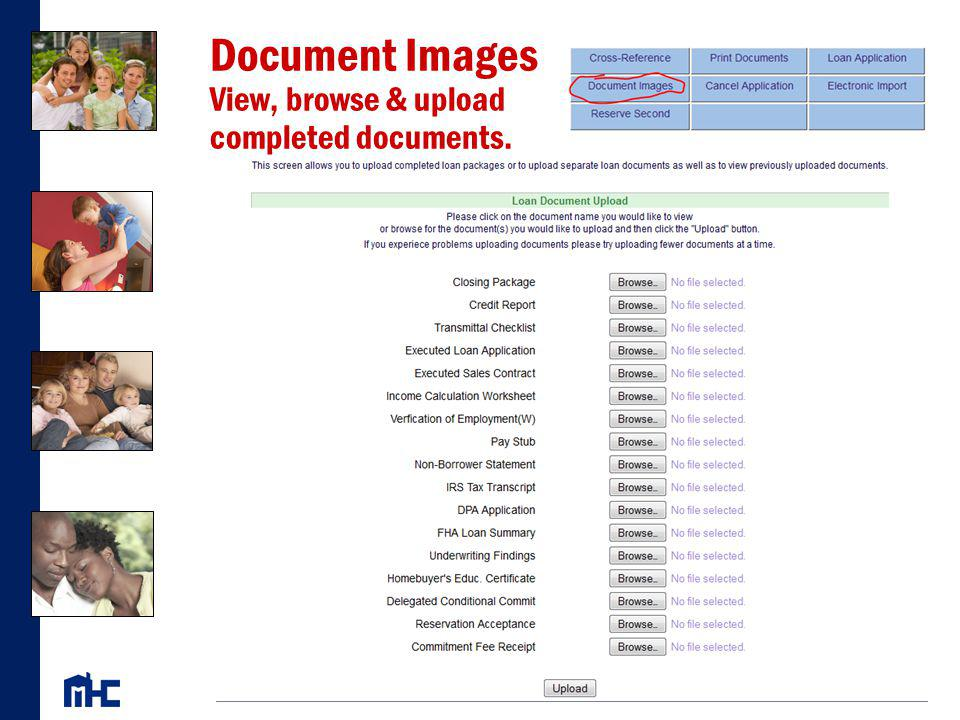 Document Images View, browse & upload completed documents.