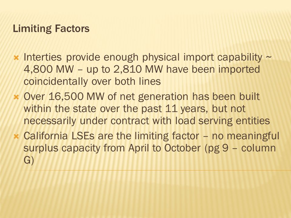 Limiting Factors  Interties provide enough physical import capability ~ 4,800 MW – up to 2,810 MW have been imported coincidentally over both lines  Over 16,500 MW of net generation has been built within the state over the past 11 years, but not necessarily under contract with load serving entities  California LSEs are the limiting factor – no meaningful surplus capacity from April to October (pg 9 – column G)