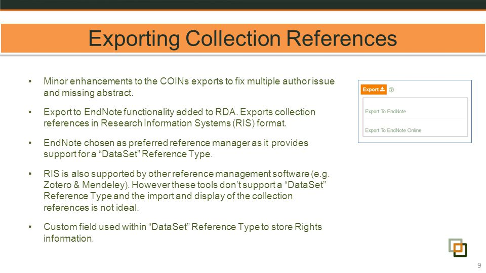 Exporting Collection References 9 Minor enhancements to the COINs exports to fix multiple author issue and missing abstract.