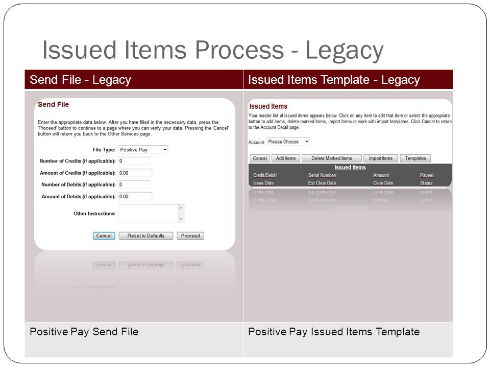 Issued Items Process - Legacy Send File - LegacyIssued Items Template - Legacy Positive Pay Send FilePositive Pay Issued Items Template