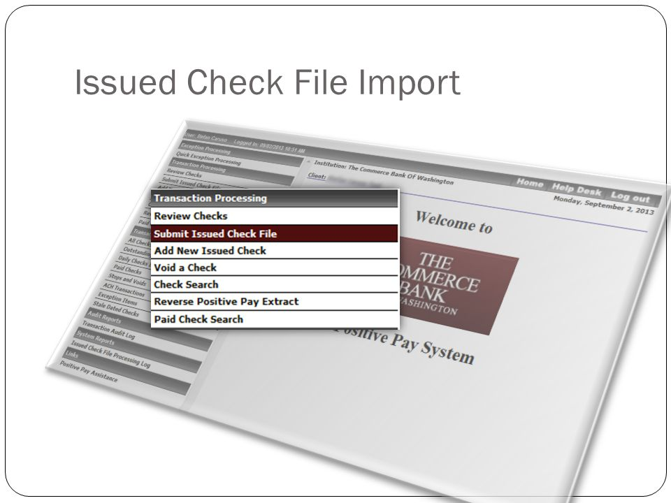 Issued Check File Import